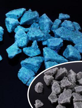 Pietricele fosforescente albastre pentru decoratiuni exterioare, granulatie 15-35 mm