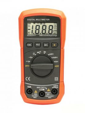 Multimetru digital, ecran LCD, 9V, 2 testere, carcasa antisoc