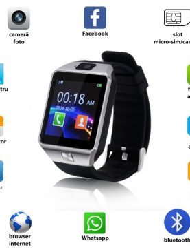 Ceas smart bluetooth 3.0, slot SIM, TF, 13 functii, Android 4.3