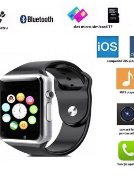 Smartwatch bluetooth 4.0, slot SIM, camera 3 MP, 17 functii, touchscreen, negru