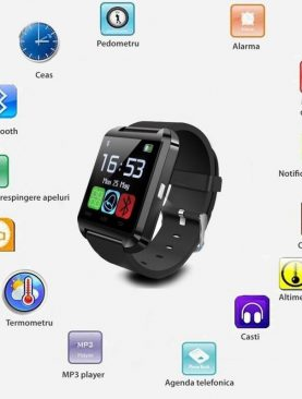 Ceas smartwatch, bluetooth, 11 functii, handsfree, MP3 player, SoVogue, negru